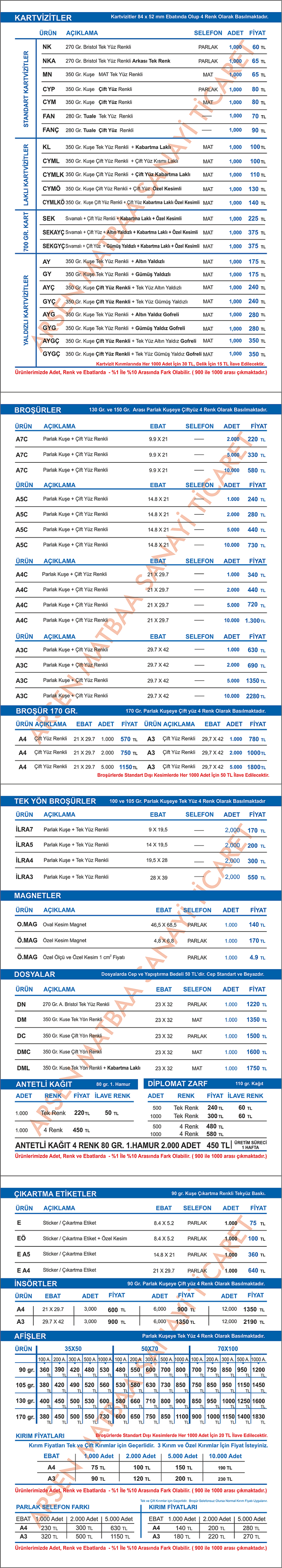 fiyat listesi - istanbul 2018 yeni